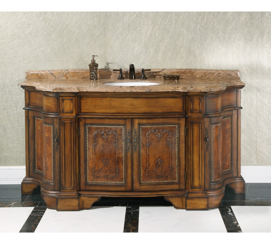 Home 72 Inch Single Sink Bathroom Vanity With Rainforest Brown Marble Loading Zoom