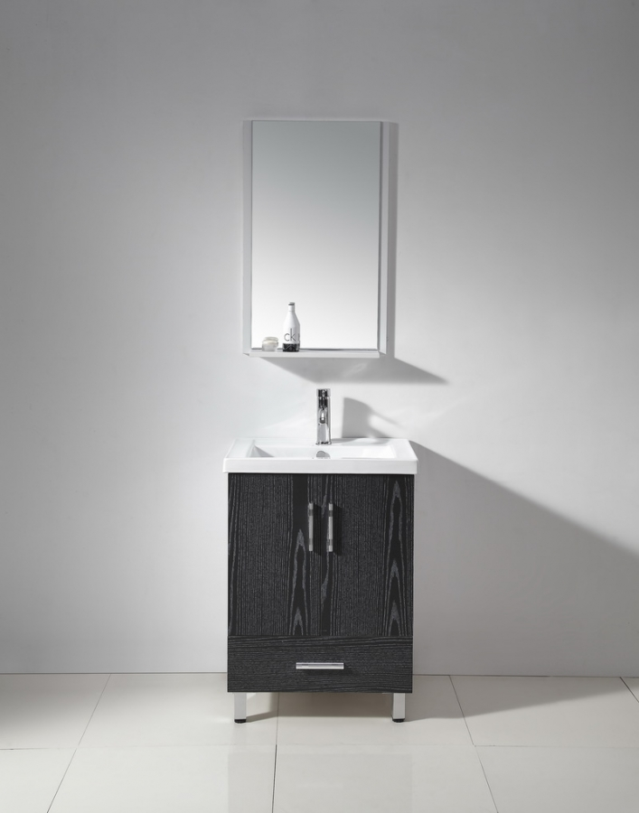 24 Inch Single Sink Bathroom Vanity in White and Espresso ...
