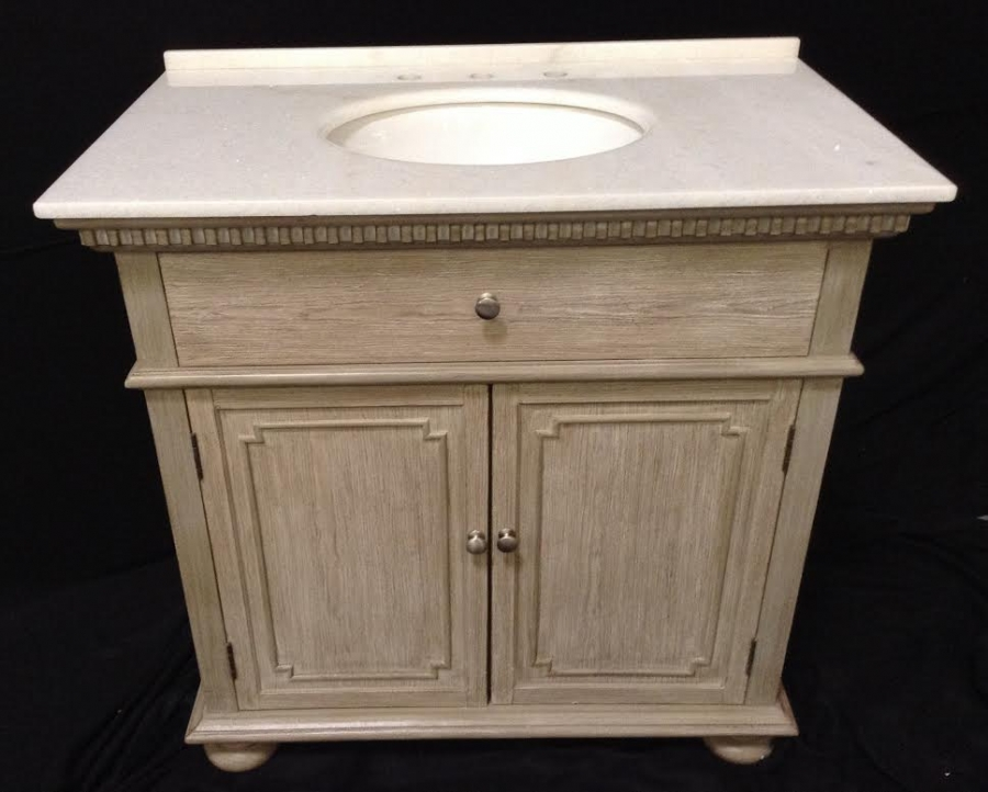 36 Inch Single Sink Bathroom Vanity In Distressed Light Wash Uvcdwfb395236