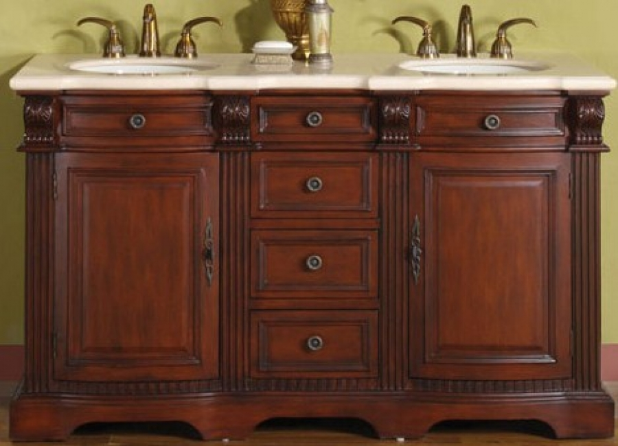 58 Inch Hand Crafted Double Sink Bath Vanity With Marble
