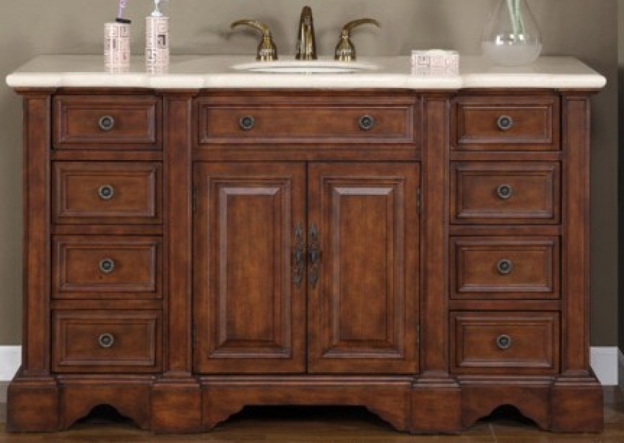 58 Inch Hand Crafted Single Sink Vanity With Matching Mirror