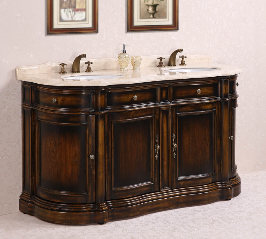 Bon 66 Inch Double Sink Bathroom Vanity With Cream Marble UVLFWH306666