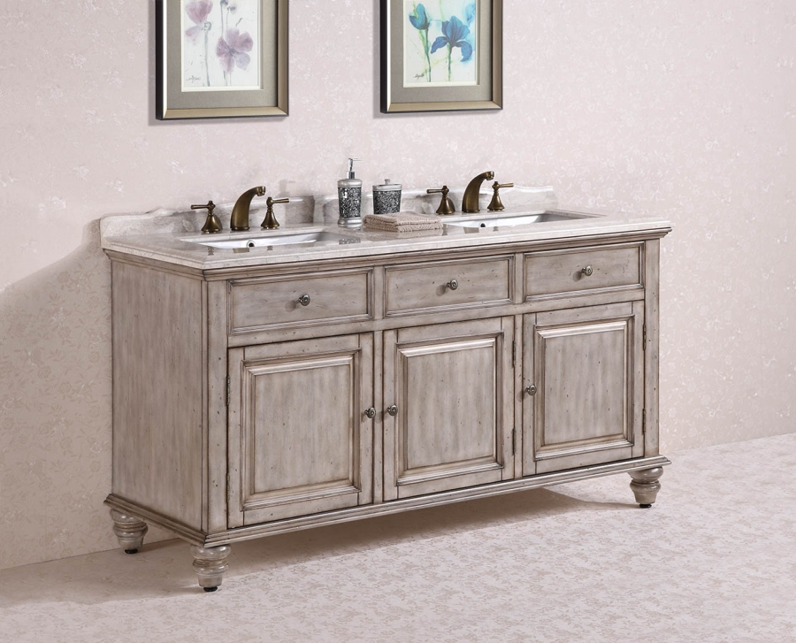 67 inch double sink bathroom vanity in antique white for Antique white double sink bathroom vanities