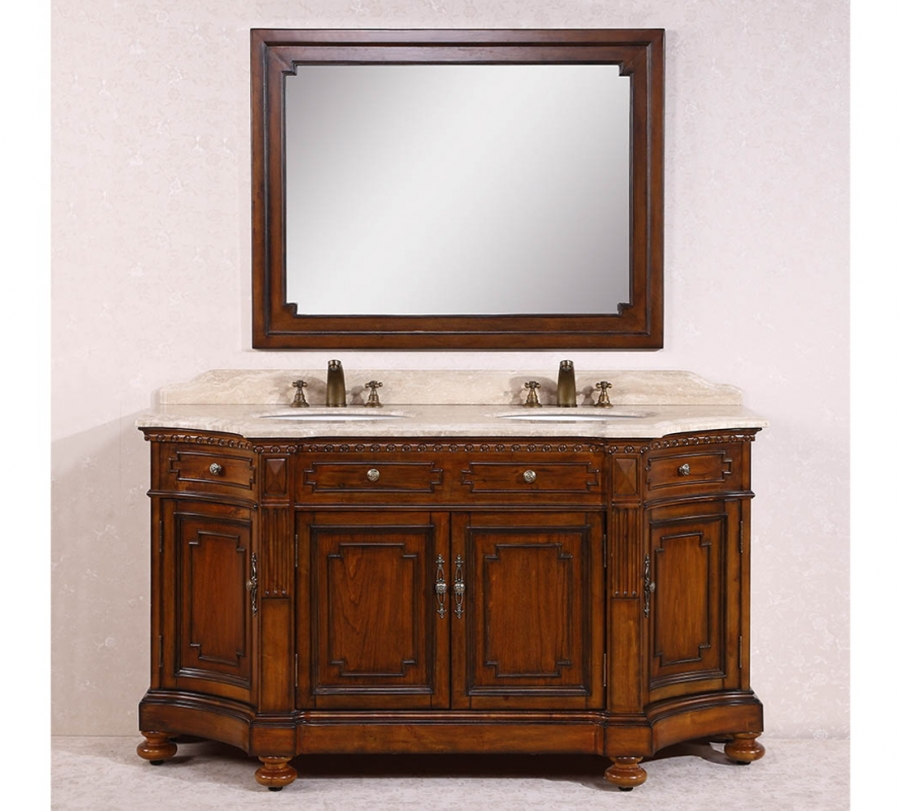 68 inch double sink bathroom vanity with travertine top uvlfwh336868