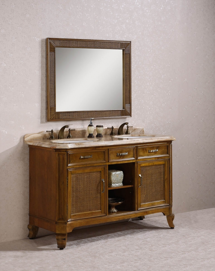 60 inch double sink bathroom vanity with travertine top for Bathroom 60 inch double vanities