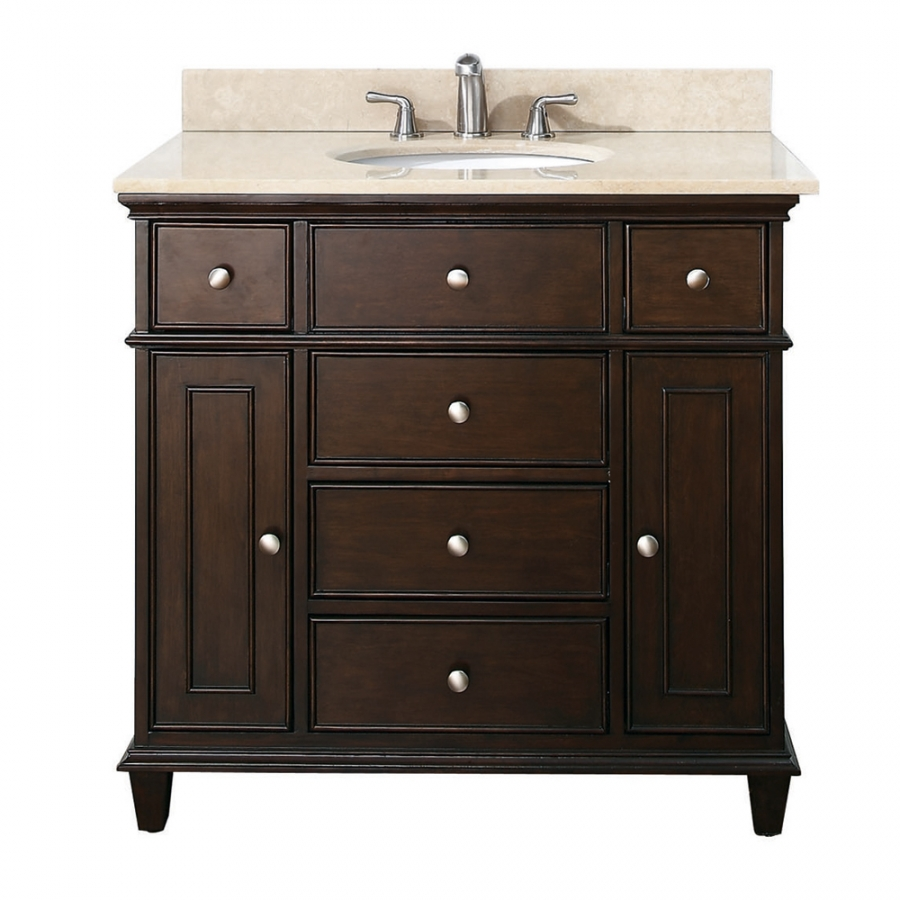 home 37 inch single bathroom vanity in walnut with a choice of top