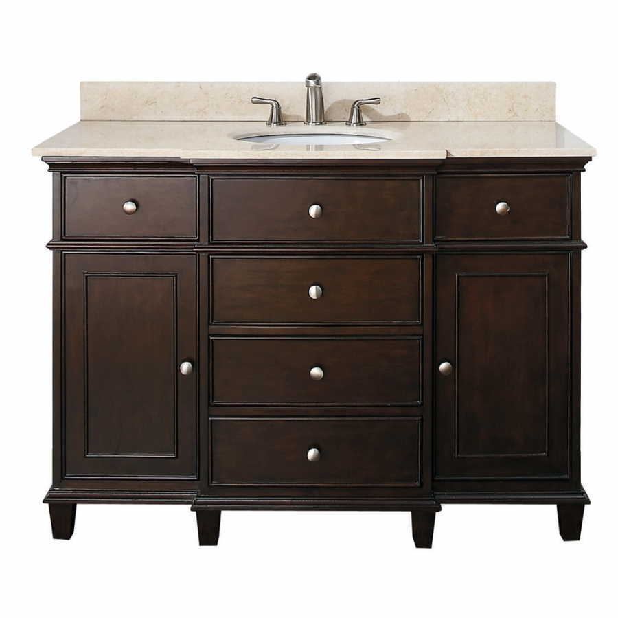 Great 49 Inch Single Bathroom Vanity In Walnut With A Choice Of Top