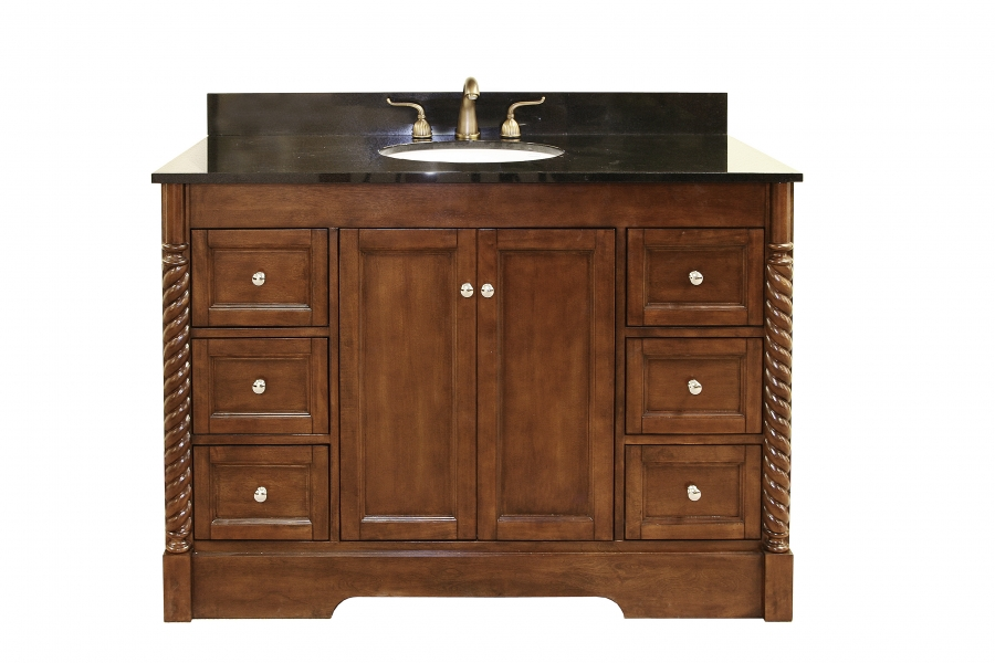 49 inch single sink bathroom vanity in light walnut with