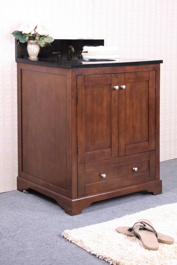 31 inch single sink bathroom vanity with black granite uvlfwlf601331. Black Bedroom Furniture Sets. Home Design Ideas