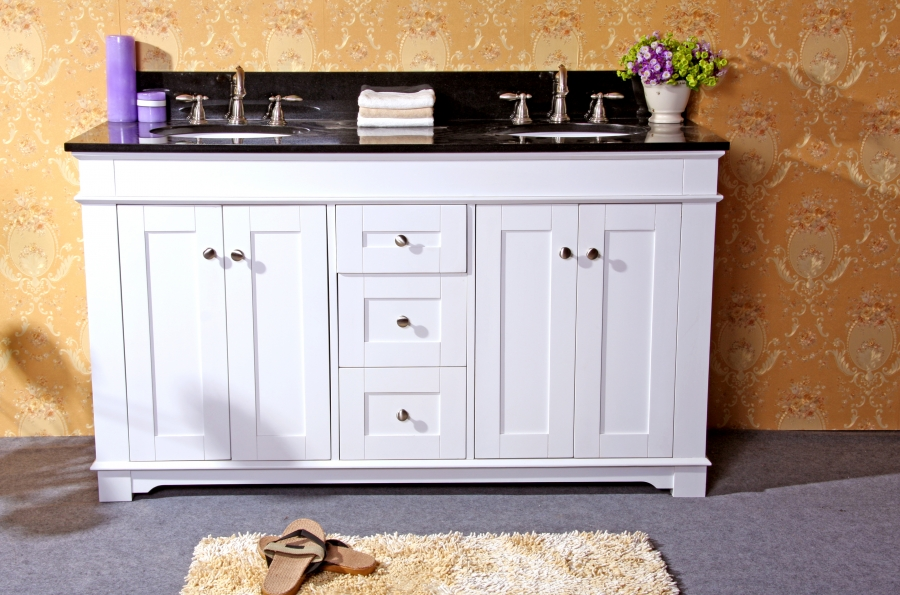 61 inch white double sink bathroom vanity with choice of - 66 inch bathroom vanity double sink ...