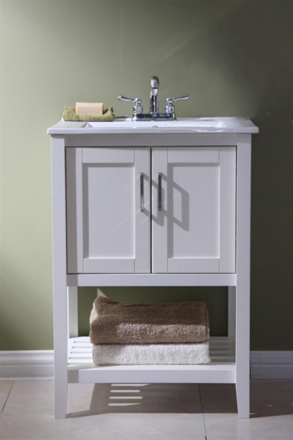 24 Inch Narrow Bathroom Vanity Open Shelf In White