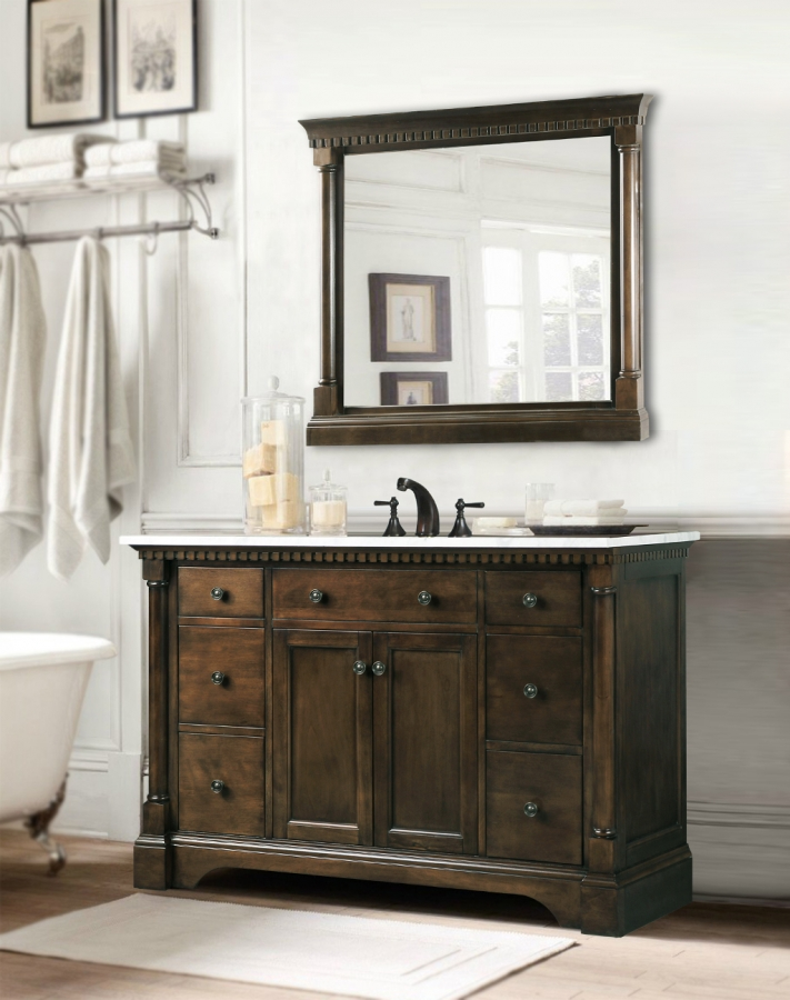 48 Inch Single Sink Bathroom Vanity in Antique Coffee