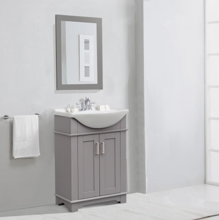 24 Inch Transitional Single Sink Vanity In Gray UVLFWLF6042G