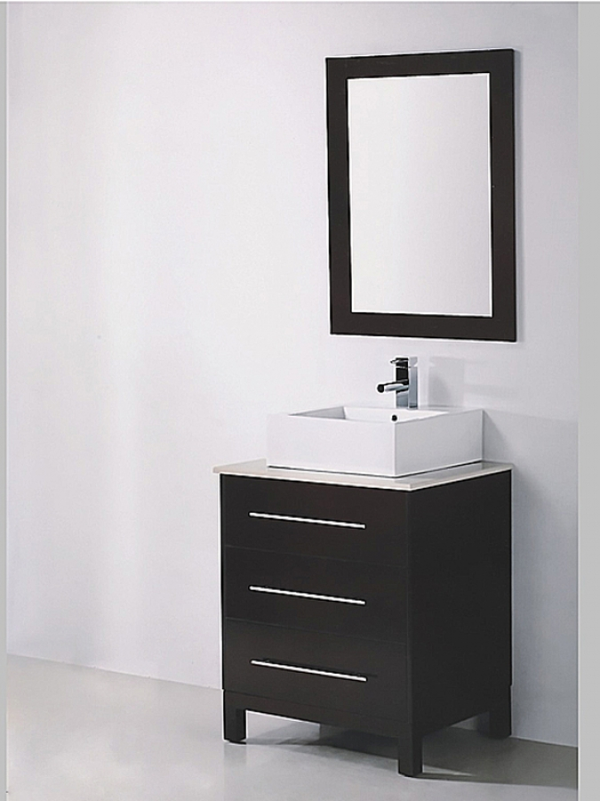 27 5 Inch Single Sink Espresso Bathroom Vanity with Mirror