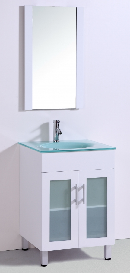 ... Bathroom Vanity In White With A Tempered Glass Top · Loading Zoom