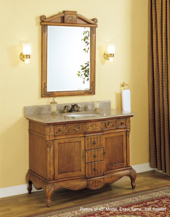 36 Inch Single Sink Bathroom Vanity with Peach Granite ...