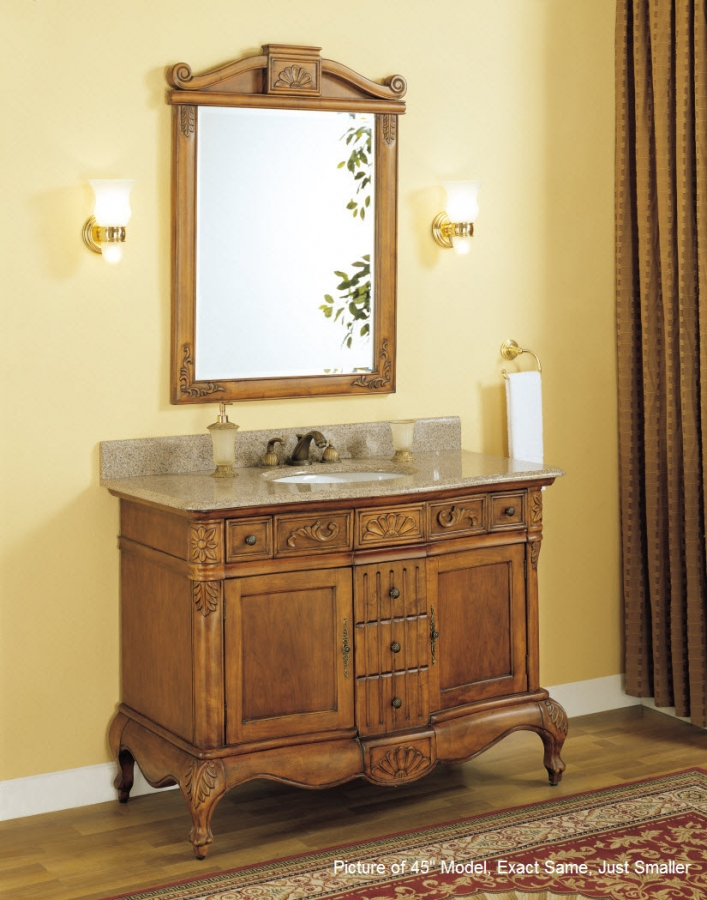 36 inch single sink bathroom vanity with peach granite counter top uveiy36. Black Bedroom Furniture Sets. Home Design Ideas