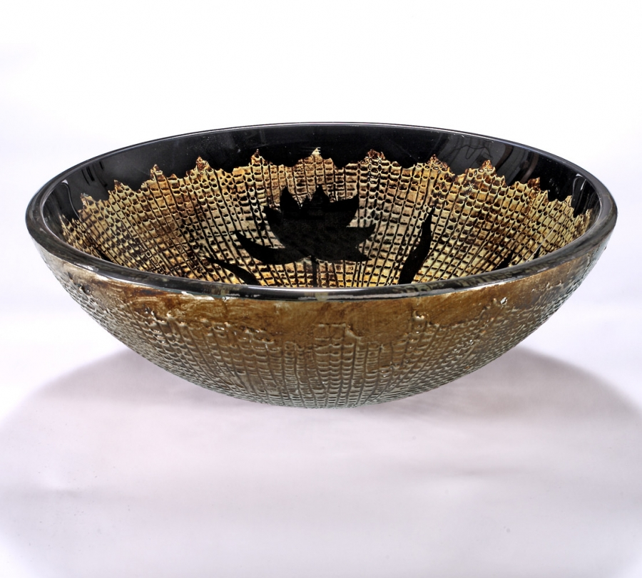 Gold with Black Flowers Round Glass Vessel Sink UVLFZA-1258