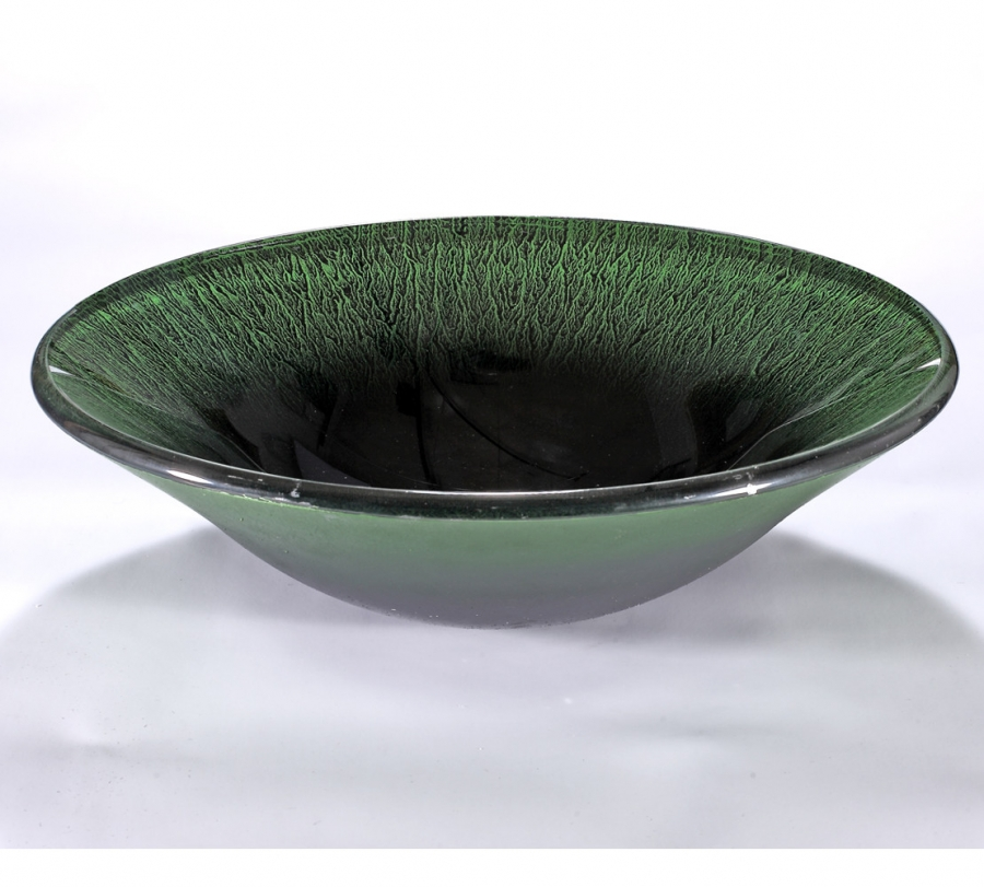 Black and Green Round Glass Vessel Sink UVLFZA-1262