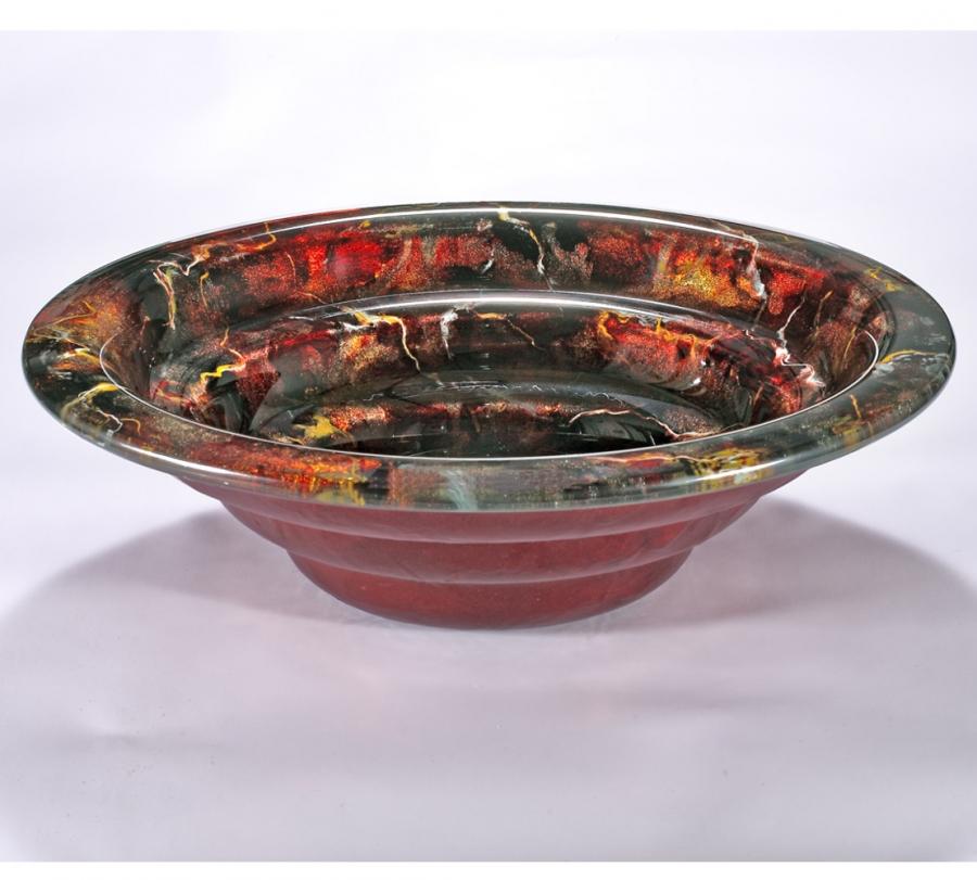 Red With Orange Round Glass Vessel Sink Uvlfza 1275