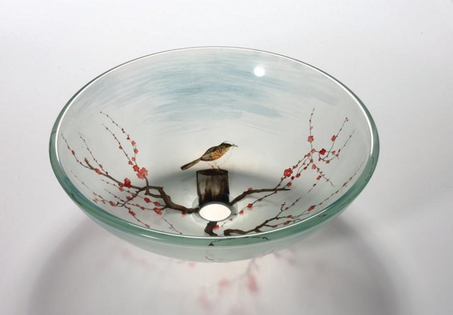 Bird In The Spring Round Vessel Sink Uvlfza134