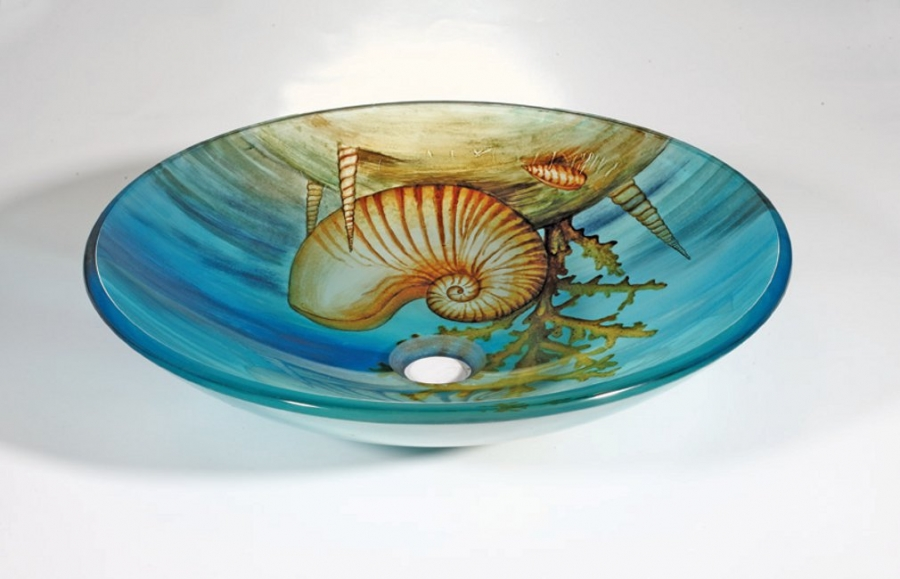 16 5 Inch Round Glass Vessel Sink With Nautical Design