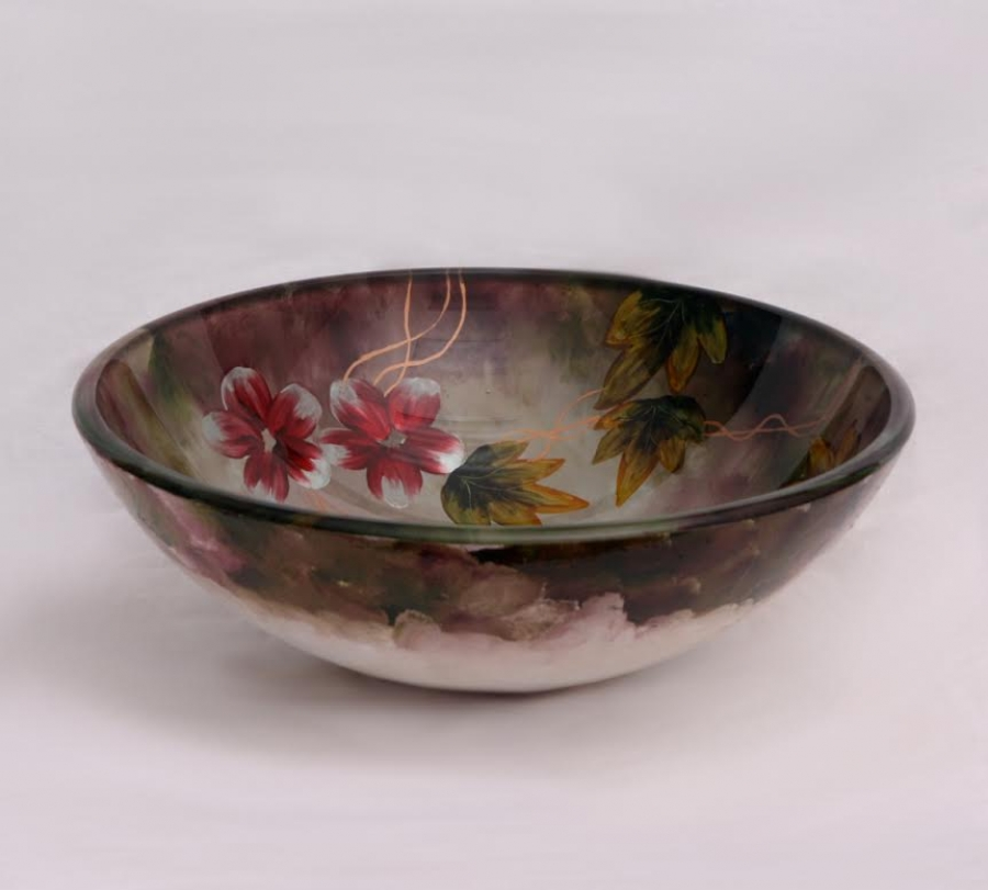 Floral In Summer Round Vessel Sink Uvlfza170