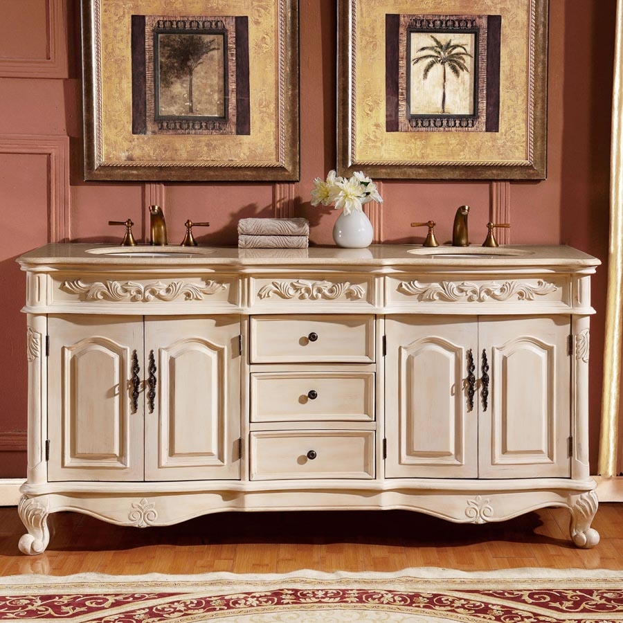 72 Inch Traditional Double Bathroom Vanity With A Cream Marfil Marble Counter