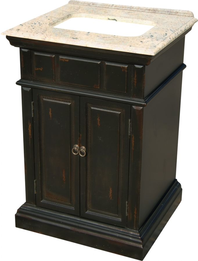 25 Inch Single Sink Bathroom Vanity With A Distressed Black Finish