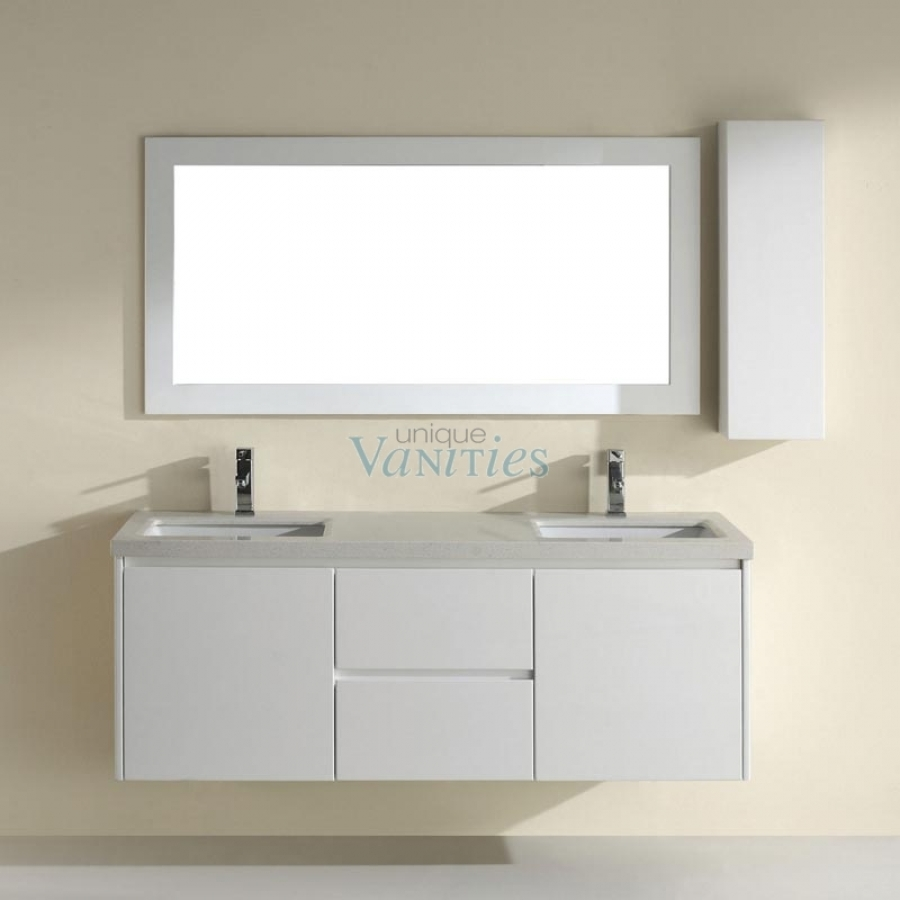 63 inch double bathroom vanity with choice of top in high gloss white