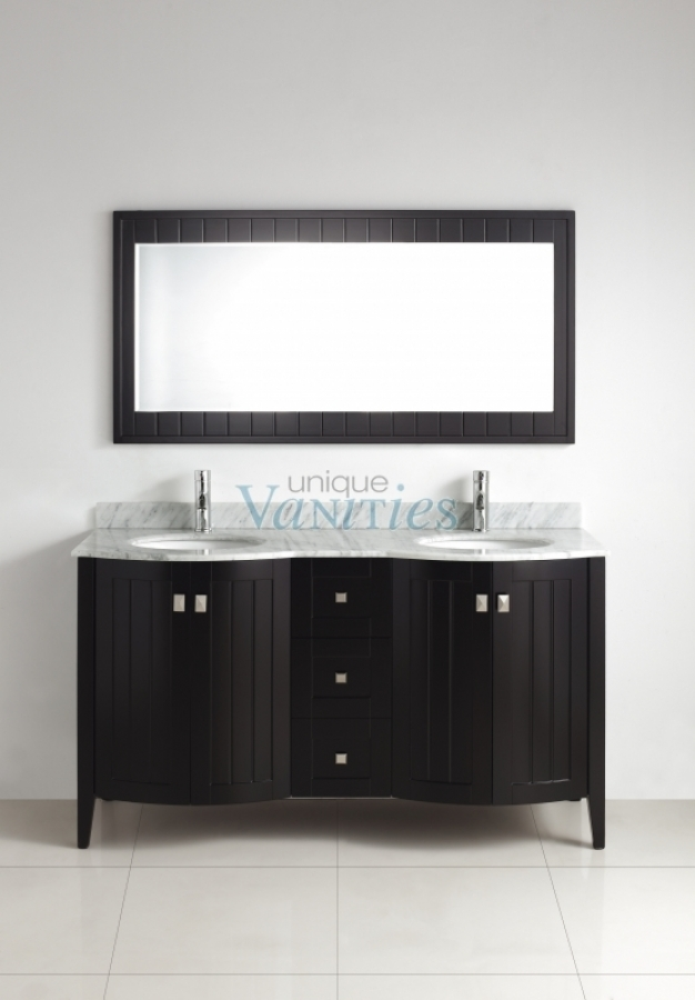 60 Inch Double Sink Bathroom Vanity With Choice Of Top In Espresso Uvabxbres60
