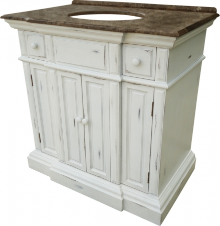 36 Inch Single Sink Bathroom Vanity With An Off White