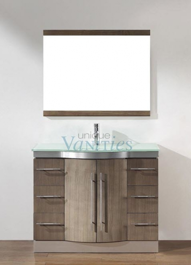 42 Inch Single Sink Bathroom Vanity with Choice of Top in Smoked Ash UVABDISA42