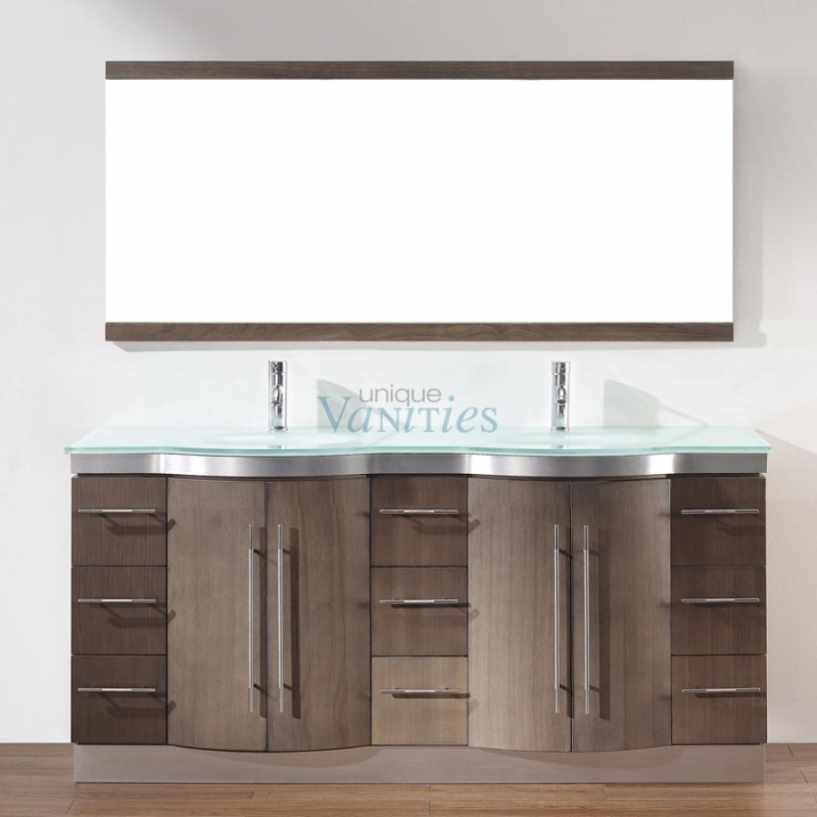 Double sink bathroom vanity tops sale -  Double Sink Bathroom Vanity With Choice Of Top In Smoked Ash Loading Zoom