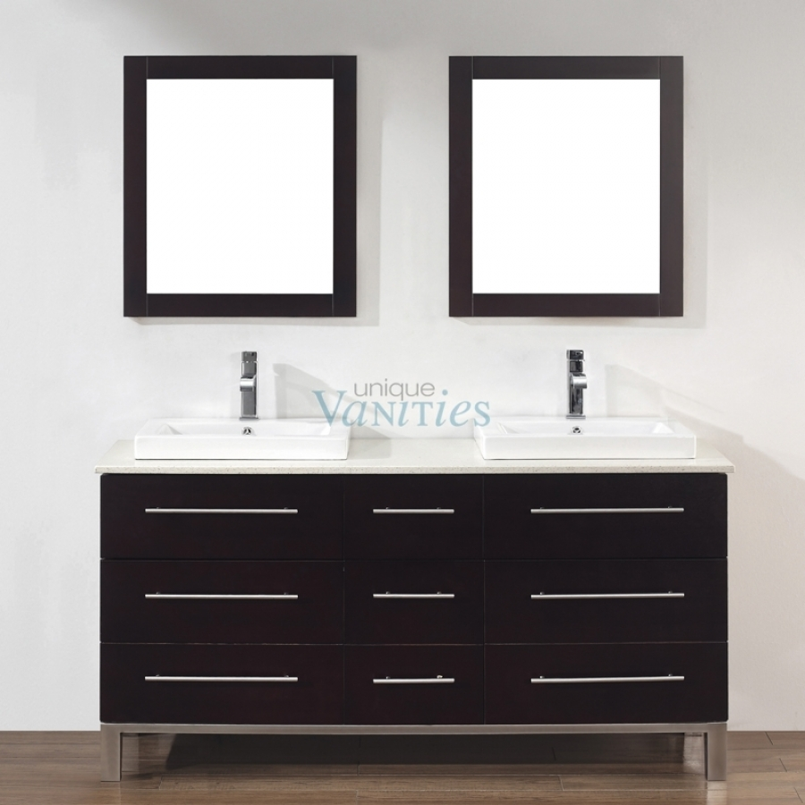 63 Inch Double Sink Bathroom Vanity In Chai Uvabgich63