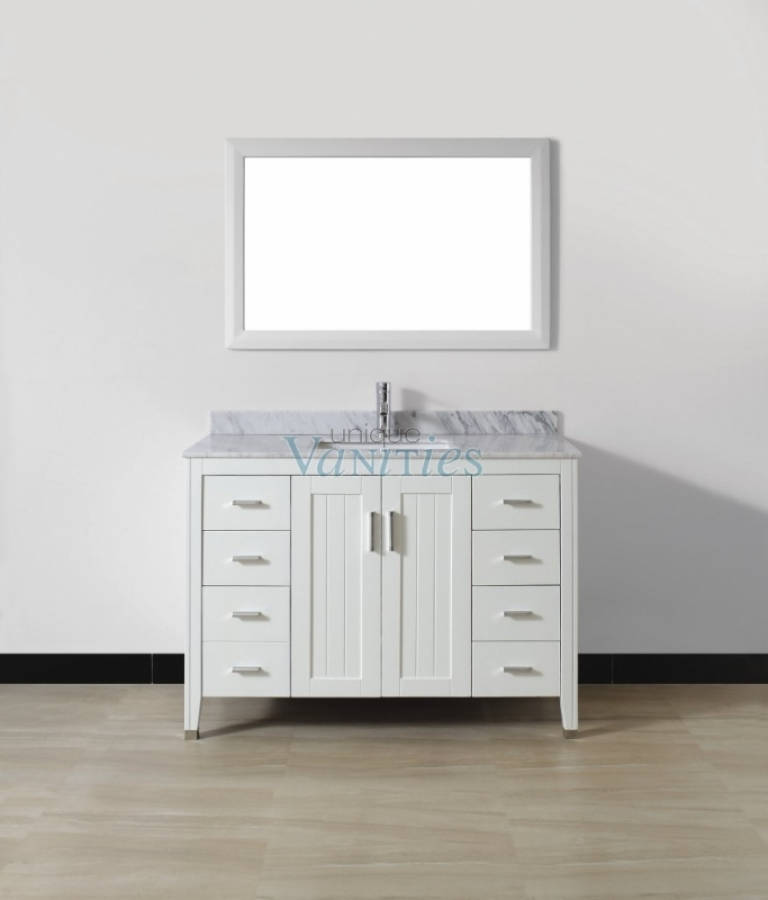 48 Inch Single Sink Bathroom Vanity With Choice Of Top In White Uvabjawh48
