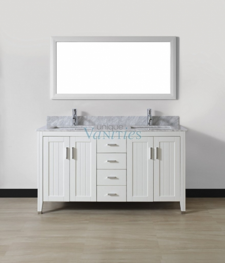 60 Inch Double Sink Bathroom Vanity With Choice Of Top In White UVABJAWH60