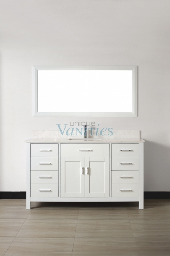 60 inch single sink bathroom vanity with choice of top in white