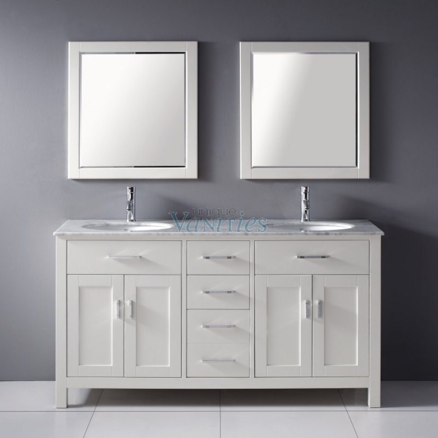 ... Inch Double Sink Bathroom Vanity With Marble Top In White · Loading Zoom