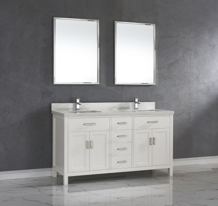 63 Inch White Double Sink Bathroom Vanity With Marble