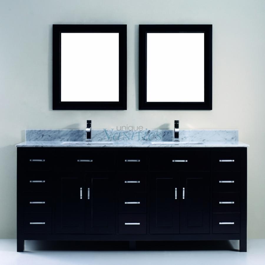 75 Inch Double Sink Bathroom Vanity With Marble Top In Espresso