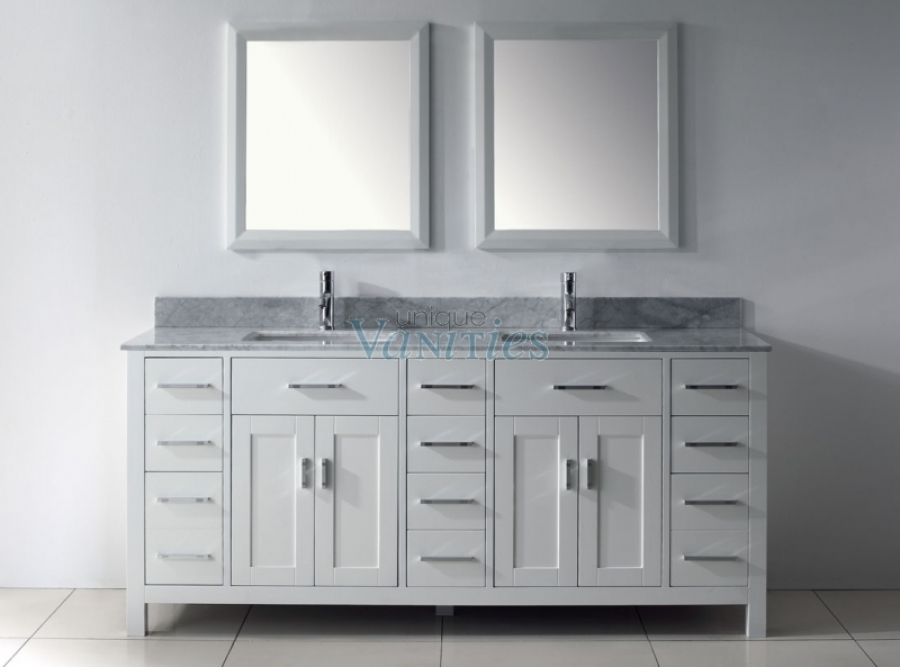 75 Inch White Double Sink Bathroom Vanity With Marble