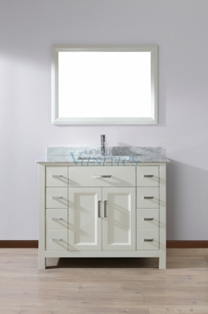 42 Inch Single Sink Bathroom Vanity with Marble Top in ...