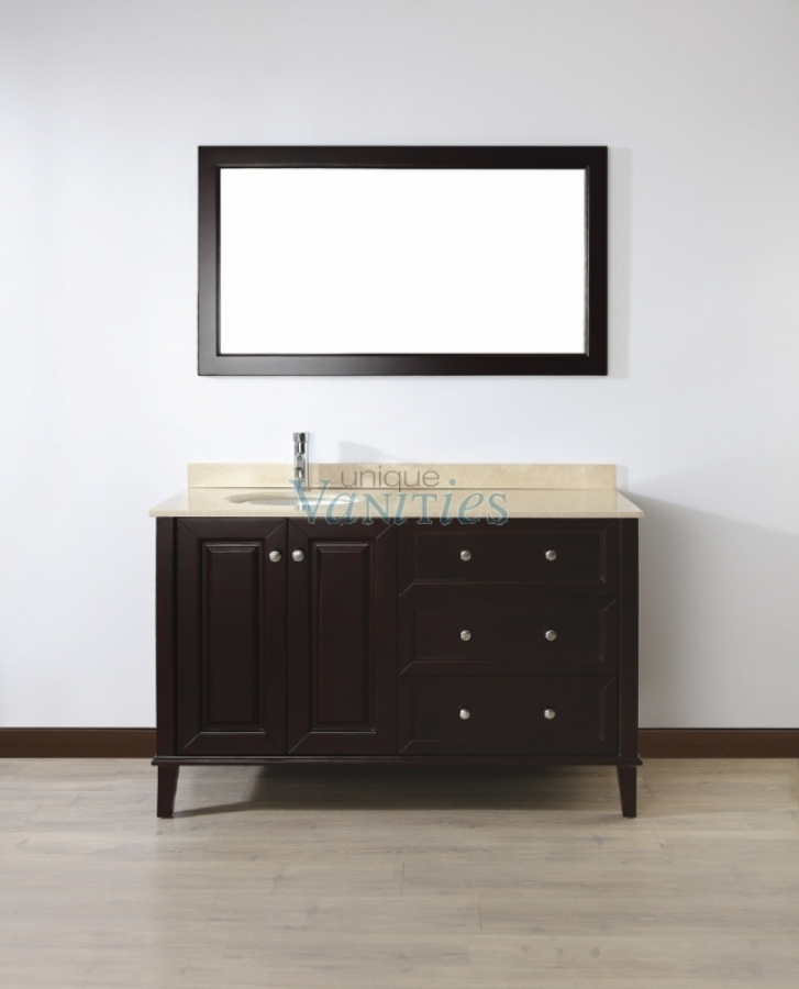 55 inch single sink bathroom vanity with choice of top in chai uvablich55. Black Bedroom Furniture Sets. Home Design Ideas