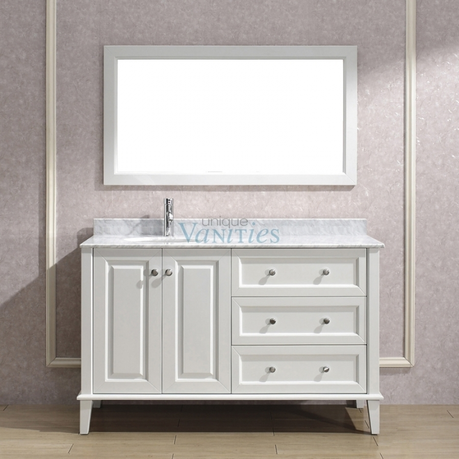 55 inch single sink bathroom vanity with choice of top in white uvabliwh55 for 55 inch double sink bathroom vanity