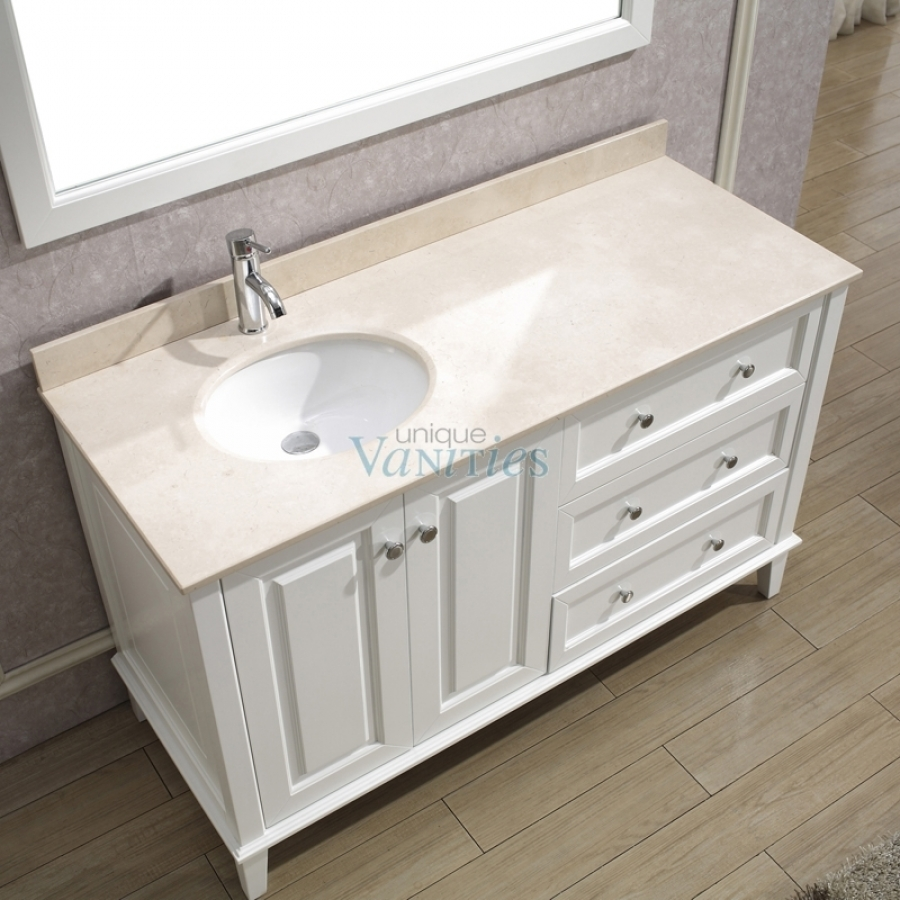55 Inch Single Sink Bathroom Vanity with Choice of Top in White ...