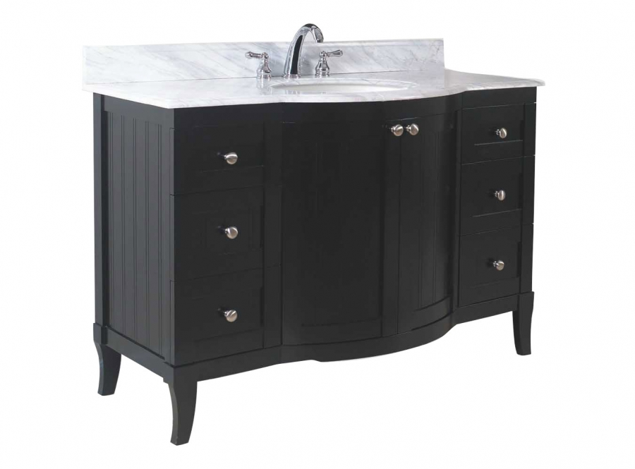 42 Inch Single Sink Modern Bathroom Vanity With Dark Mahogany Finish And Choice Of Counter Top