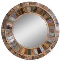 Jeremiah Reclaimed Old Doors Fastened To Solid Mango Wood Round Mirror