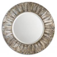 Foliage Distressed Silver Leaf With Light Antiquing Round Mirror