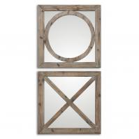 Bacie Abbracci Light Gray Wash Square Mirror Set of 2